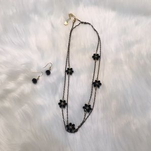 Jewelry - Black beaded Chain and Matching Earrings